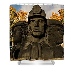 Miners In The Autumn Shower Curtain
