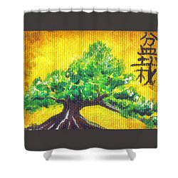 Shower Curtain featuring the painting Mini Bonsai by Shawna Rowe