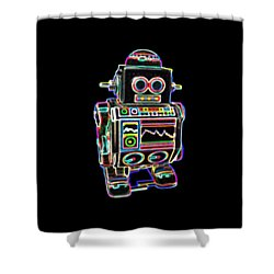 Mini D Robot Shower Curtain by DB Artist