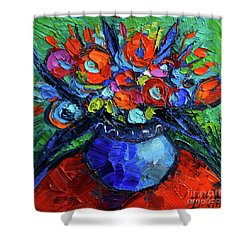 Mini Floral On Red Round Table Shower Curtain
