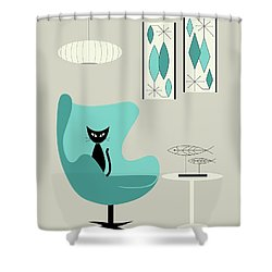 Mini Gravel Art On Gray With Black Cat Shower Curtain