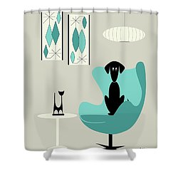 Mini Gravel Art On Gray With Black Dog Shower Curtain
