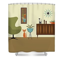 Mini Gravel Art With Orange Cat Shower Curtain