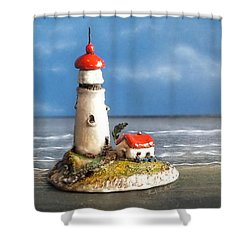 Miniature Lighthouse Shower Curtain by Wendy McKennon
