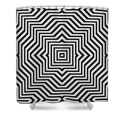 Minimal Geometrical Optical Illusion Style Pattern In Black White T-shirt  Shower Curtain