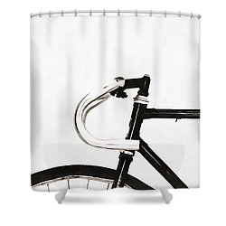 Minimalist Bicycle Painting Shower Curtain by Edward Fielding