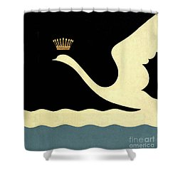 Minimalist Swan Queen Flying Crowned Swan Shower Curtain by Tina Lavoie