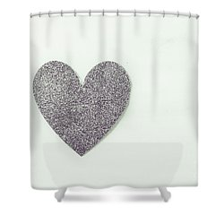 Minimalistic Silver Glitter Heart Shower Curtain