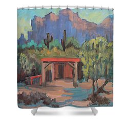 Shower Curtain featuring the painting Mining Camp At Superstition Mountain Museum by Diane McClary