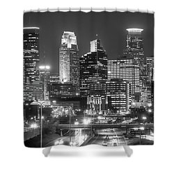 Shower Curtain featuring the photograph Minneapolis City Skyline At Night by Jim Hughes