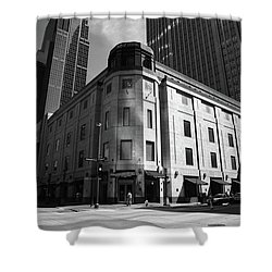Shower Curtain featuring the photograph Minneapolis Downtown Bw by Frank Romeo