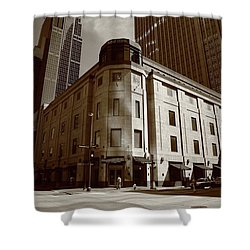 Shower Curtain featuring the photograph Minneapolis Downtown Sepia by Frank Romeo