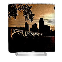 Minneapolis Skyline In Copper Shower Curtain by Tom Reynen