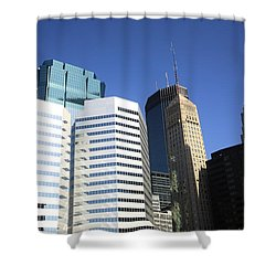 Shower Curtain featuring the photograph Minneapolis Skyscrapers 11 by Frank Romeo