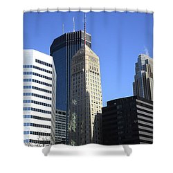 Shower Curtain featuring the photograph Minneapolis Skyscrapers 12 by Frank Romeo