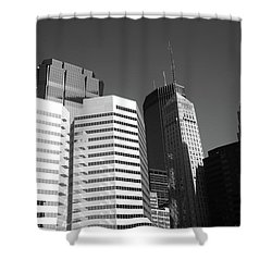 Shower Curtain featuring the photograph Minneapolis Skyscrapers Bw 5 by Frank Romeo