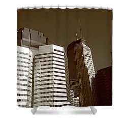 Shower Curtain featuring the photograph Minneapolis Skyscrapers 5 Sepia by Frank Romeo