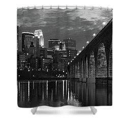 Minneapolis Stone Arch Bridge Bw Shower Curtain