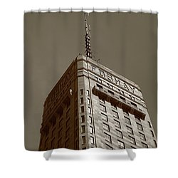 Shower Curtain featuring the photograph Minneapolis Tower 6 Sepia by Frank Romeo