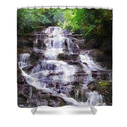 Shower Curtain featuring the digital art Minnehaha Falls Summer by Francesa Miller