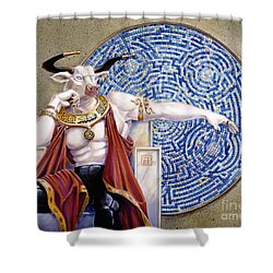 Minotaur With Mosaic Shower Curtain by Melissa A Benson