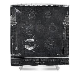 Shower Curtain featuring the drawing Minot's Ledge Light House. Massachusetts Bay Near Cohasset  by Vintage