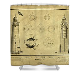 Shower Curtain featuring the drawing Minot's Ledge Light House. Massachusetts Bay by Vintage