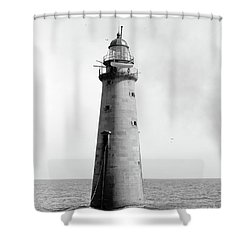 Shower Curtain featuring the photograph Minot's Ledge Lighthouse, Boston, Mass Vintage by Vintage
