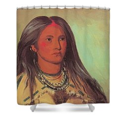 Mint A Mandan Girl 1832 Shower Curtain