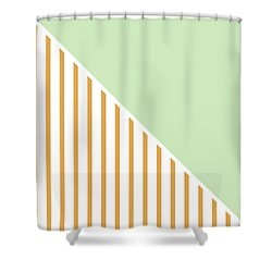 Mint And Gold Geometric Shower Curtain by Linda Woods