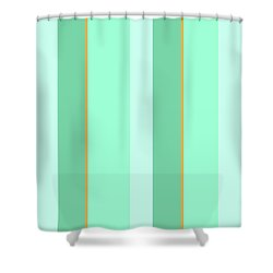 Shower Curtain featuring the mixed media Mint Green Stripe Pattern by Christina Rollo