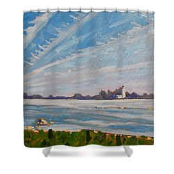Miramachi Contrails Shower Curtain by Phil Chadwick