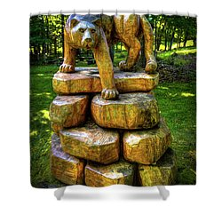 Shower Curtain featuring the photograph Mirnie's Cougar Sculpture by David Patterson