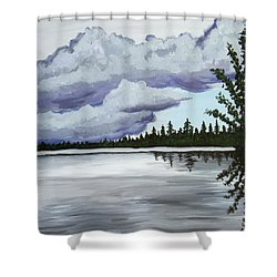Mirror Lake Shower Curtain by Christie Nicklay