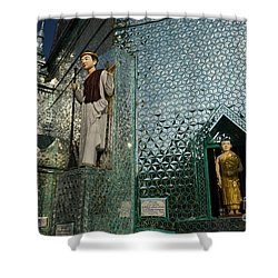 Mirror Temple In Burma Courtyard View Shower Curtain