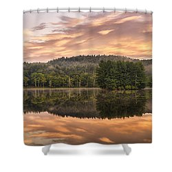 Bass Lake Sunrise - Moses Cone Blue Ridge Parkway Shower Curtain