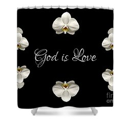 Shower Curtain featuring the photograph Mirrored Orchids Framing God Is Love by Rose Santuci-Sofranko