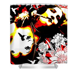 Mischievious Hummingbird Shower Curtain by Chris Andruskiewicz
