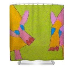 Shower Curtain featuring the pastel Mischievous Pigs by Artists With Autism Inc
