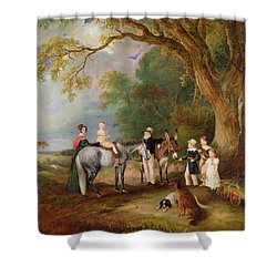 Miss Catherine Herrick With Her Nieces And Nephews Shower Curtain by John E Ferneley
