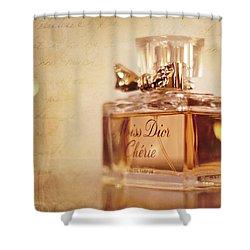 Miss Dior Shower Curtain by Susan Bordelon