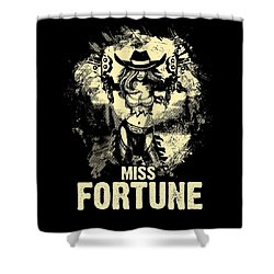 Miss Fortune - Vintage Comic Line Art Style Shower Curtain
