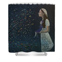 Shower Curtain featuring the painting Miss Frost Watching The Autumn Dance by Tone Aanderaa