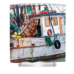 Miss Hale Shrimp Boat - Side Shower Curtain