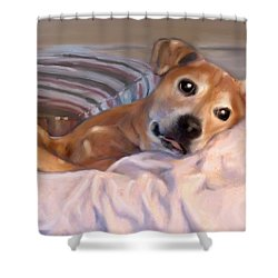 Shower Curtain featuring the painting Miss Penny by Thomas Lupari