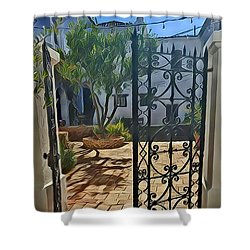 Mission Courtyard Shower Curtain