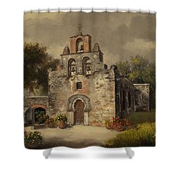Shower Curtain featuring the painting Mission Espada by Kyle Wood