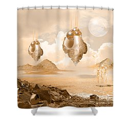 Shower Curtain featuring the digital art Mission In A Far Planet by Alexa Szlavics