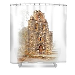 Shower Curtain featuring the photograph Mission San Francisco De La Espada In Faux Pencil Drawing  by David and Carol Kelly