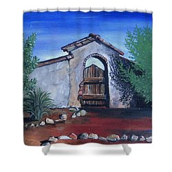 Shower Curtain featuring the painting Rustic Charm by Mary Ellen Frazee